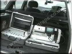 Typical Boot Equipment for Auto Vision & Speedmaster, Case on the left is the Speed Calculating computer & on the right is the Video Recording Unit.    Copyright © Steve Warren.